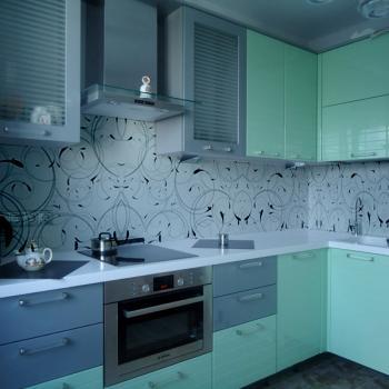 Абстрактный стеклянный фартук для кухни