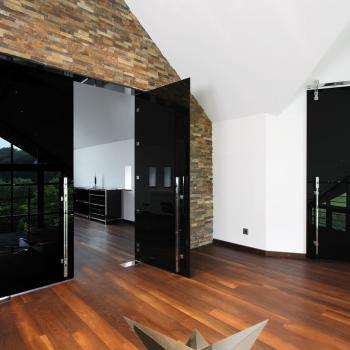 широкие стеклянные маятниковые двери