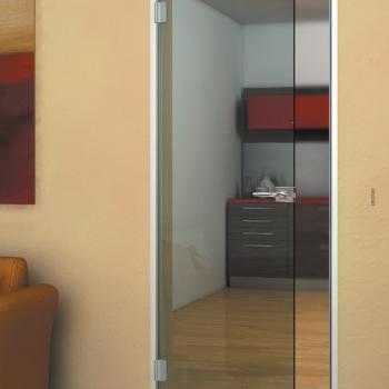 Распашная дверь из дымчатого стекла