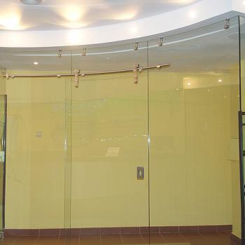стеклянная радиусная дверь