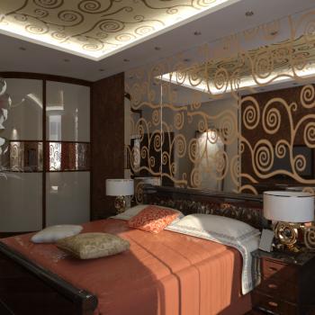зеркало с пескоструйным рисунком в спальне