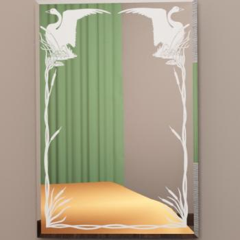 """зеркало с пескоструйным рисунком """"лебеди"""""""