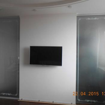 Откатные стеклянные двери с УФ печатью