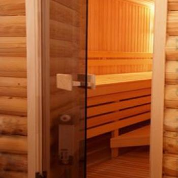 Тонированная стеклянная дверь в баню