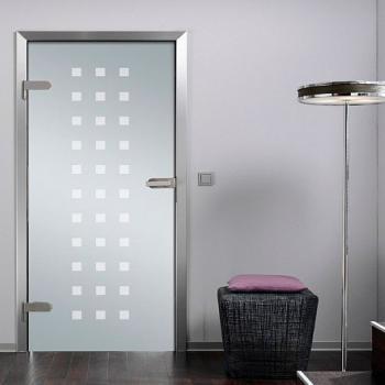 Матовая стеклянная межкомнатная дверь с рисунком