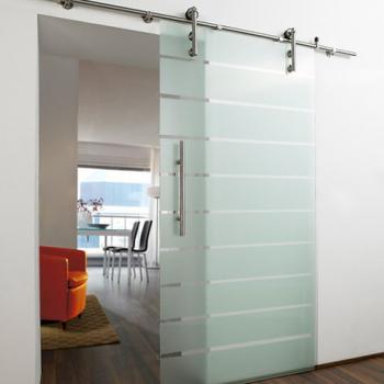 Откатная стеклянная дверь с верхним подвесом
