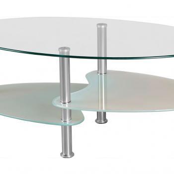 Круглый стеклянный журнальный столик с полками
