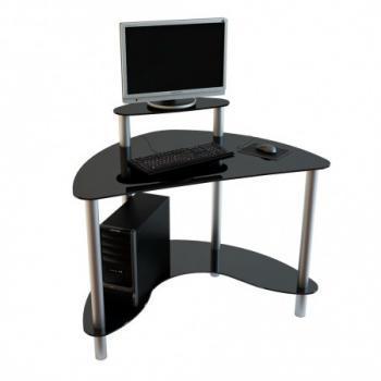 Небольшой компьютерный стол с черным стеклом с хромированным каркасом