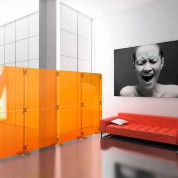Дизайнерская мобильная перегородка в комнату из оранжевого стекла