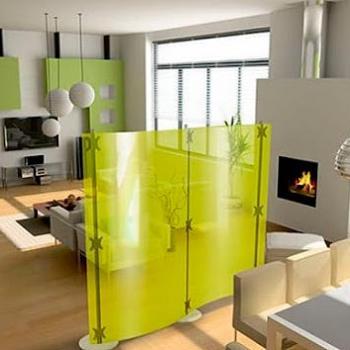 Переносная стеклянная зеленая перегородка в квартиру