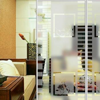 Стеклянная перегородка в комнате с пескоструйным рисунком