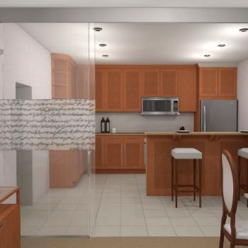 Раздвижная стеклянная перегородка между комнатой и кухней