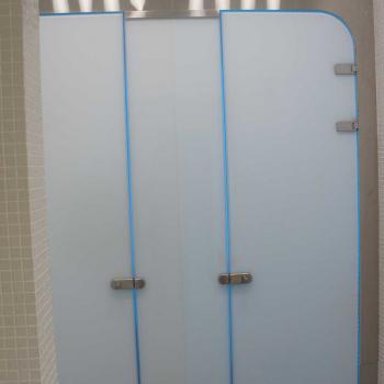 Матовая стеклянная перегородка с дверью