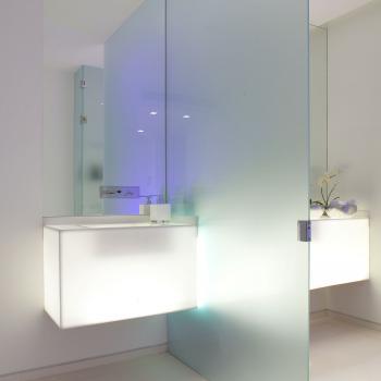 Матовая разделяющая стеклянная перегородка в ванной комнате
