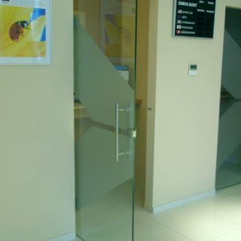 простая маятниковая стеклянная дверь