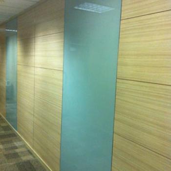Матовые панели из стекла в стене