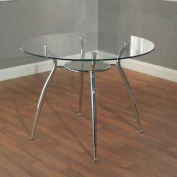 круглый кухонный стол из стекла на металлических ножках