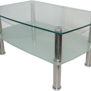 Стеклянный стол с нижней полкой