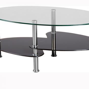 Овальный стеклянный стол с полкой