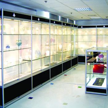 Комплекс стеклянных витрин для больших залов