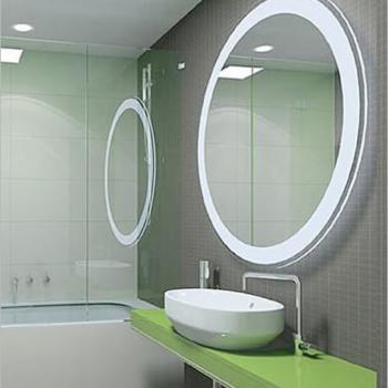 круглое настенное зеркало в ванную комнату