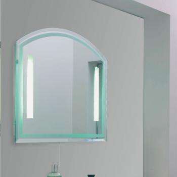 Скругленное зеркало в ванной с подсветкой
