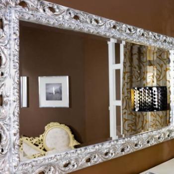 зеркало в белом резном багете