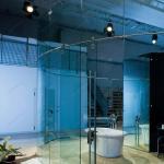 Прозрачная полукруглая стеклянная перегородка с дверью