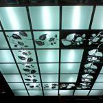 Стеклянный потолок с гравировкой и подсветкой